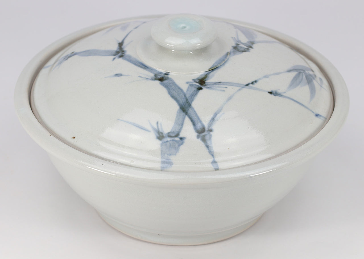 Large Lidded Bowl (48 oz.): Clear Celadon Bamboo Pattern