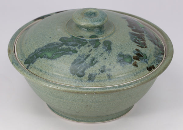 Large Lidded Bowl (48 oz.): Jade Green Fern Pattern