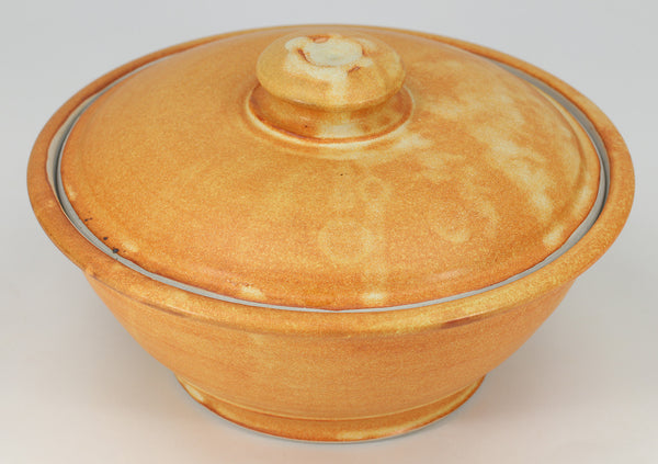 Large Lidded Bowl (48 oz.): Winokur Yellow Fern Pattern