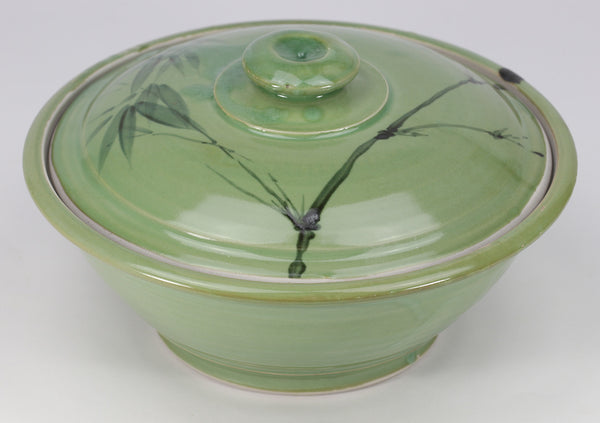 Large Lidded Bowl (48 oz.): Green Celadon Bamboo Pattern