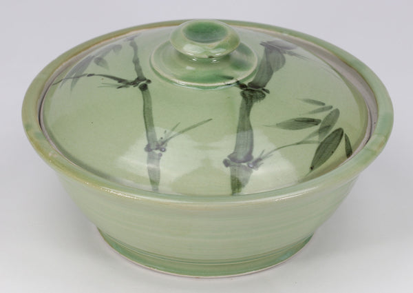 Small Lidded Bowl (26 oz.): Green Celadon Bamboo Pattern