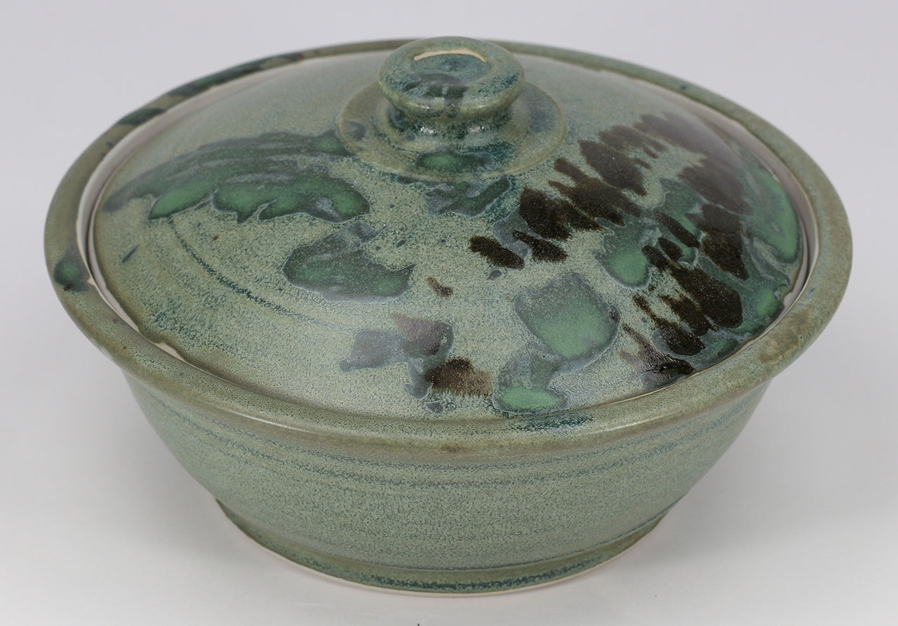 Small Lidded Bowl (26 oz.): Jade Green Fern Pattern
