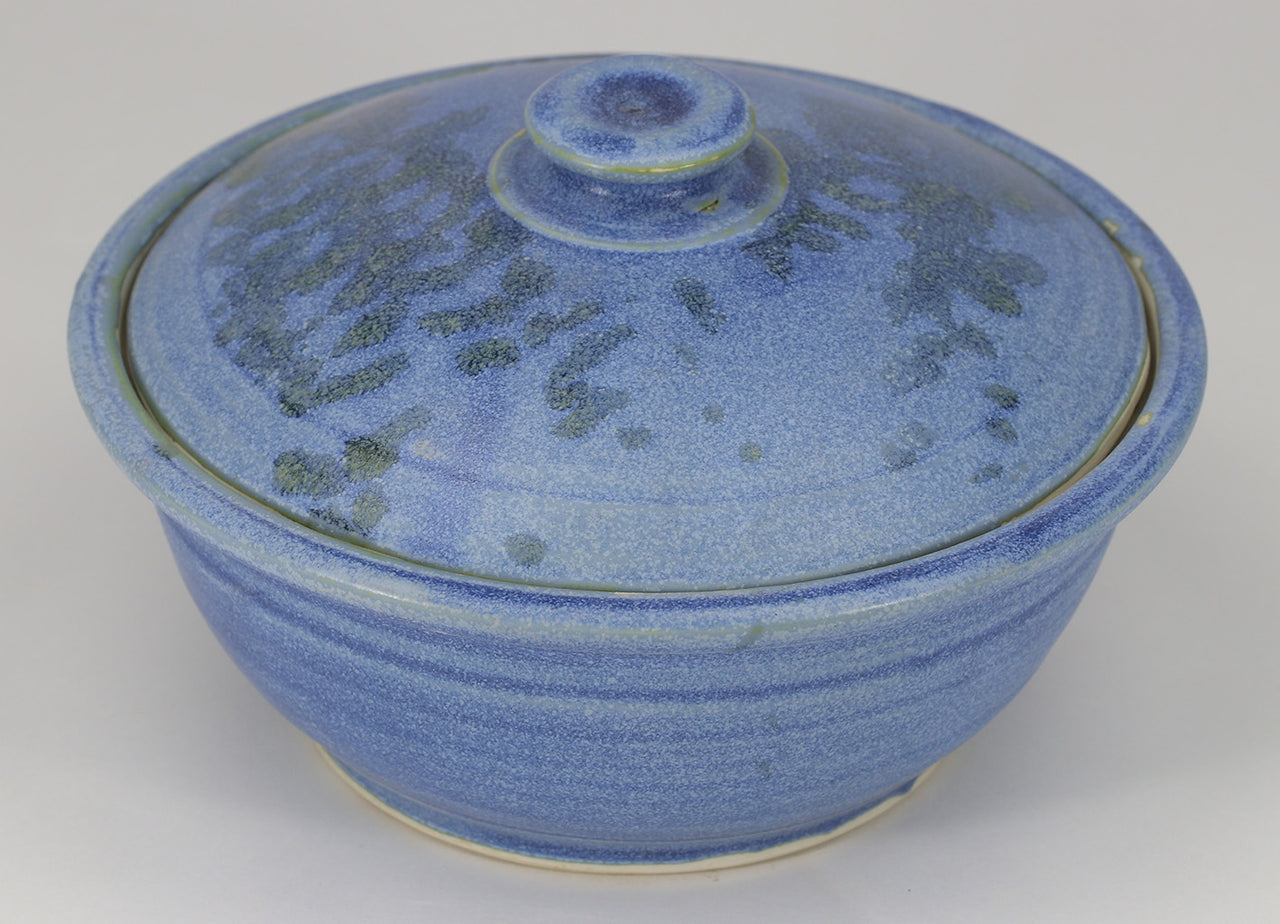 Small Lidded Bowl (26 oz.): Midnight Blue Fern Pattern