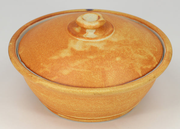 Small Lidded Bowl (26 oz.): Winokur Yellow Fern Pattern
