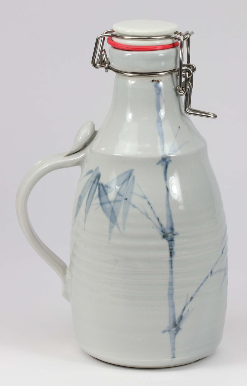 2-liter Growler: Clear Celadon Bamboo Pattern