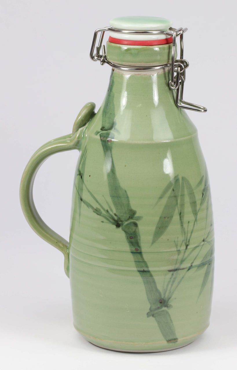 2-liter Growler: Green Celadon Bamboo Pattern