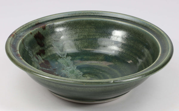 Beautiful, durable porcelain large bowl in a subtle leaf-printed botanical pattern and striking glaze colors. Approximately 24 ounces in volume, chip-resistant, oven- and dishwasher-safe. Each piece is unique--shape, size and color will vary.