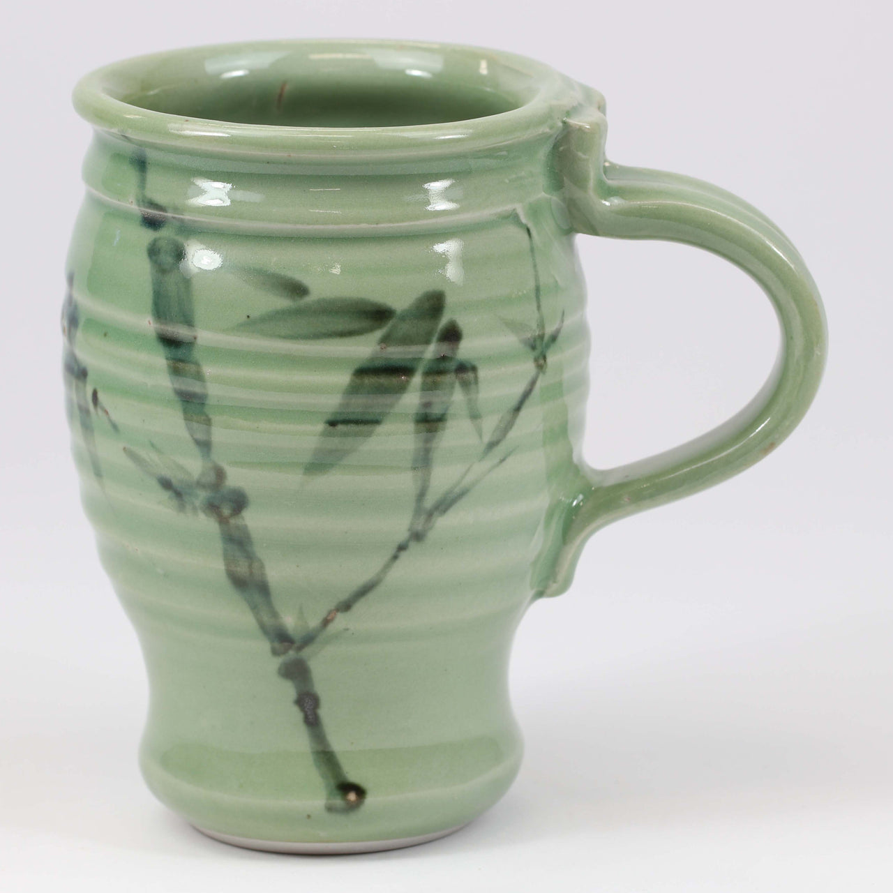 Large 16 oz. Mug: Green Celadon Bamboo Pattern
