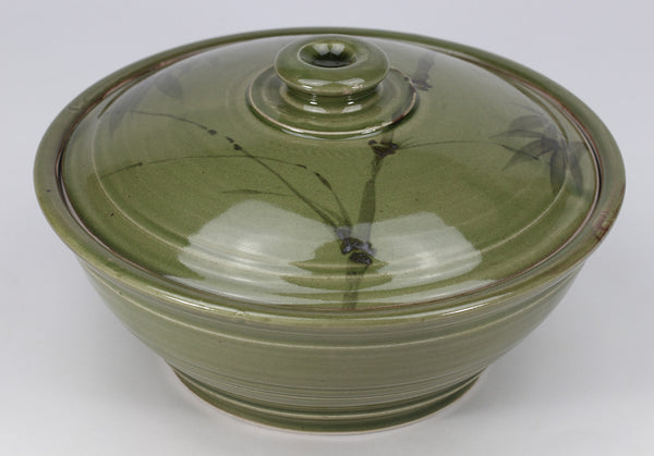 Large Lidded Bowl (48 oz.): Korean Celadon Bamboo Pattern