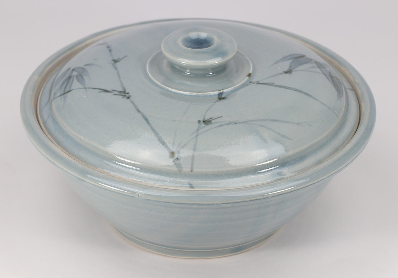 Large Lidded Bowl (48 oz.): Blue Celadon Bamboo Pattern