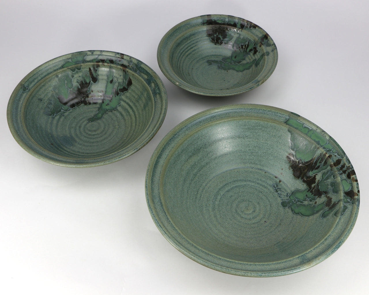 3-Piece Nesting Serving Bowl Set (24-64 oz.): Jade Green Fern Pattern