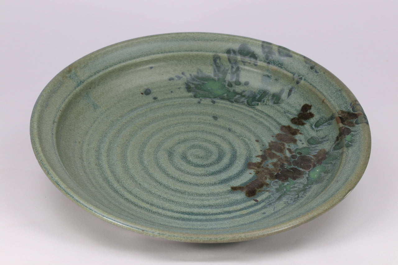 "Serving Platter (13""): Jade Green Fern Pattern"