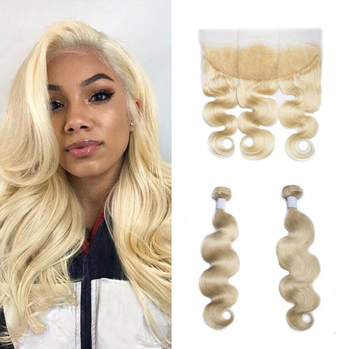 Queen Hair Inc 10A  613 Blonde Hair 2/3bundles with 13*4 Lace Frontal Body wave 100% Human Hair