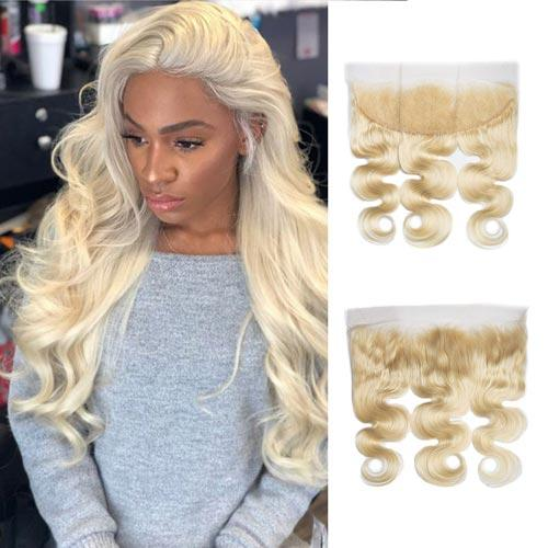 Queen Hair Inc 13*4 Lace Frontal #613 Blonde Color Free Part Ear To Ear Body Wave