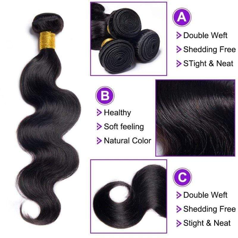 Queen Hair Inc 9A 3 Remy Hair bundles + 4X4 Lace Closure Body Wave #1b