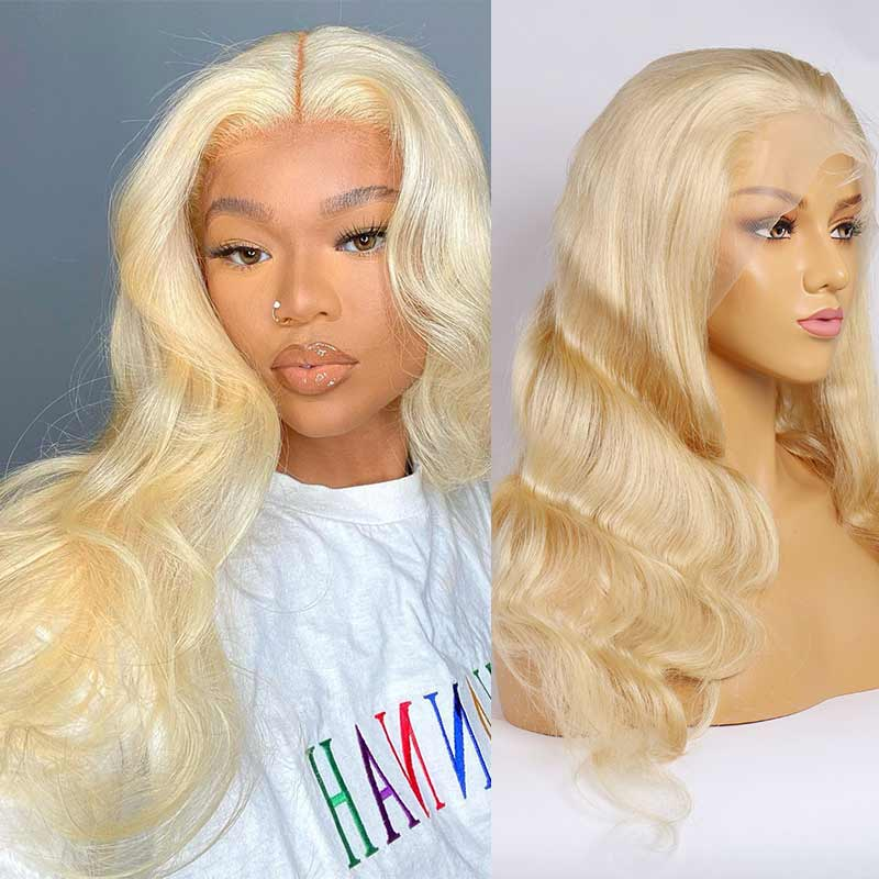 Queen Hair Inc New Arrival 10A Body wave #613 13*6 lace frontal wig 150% Density Pre Plucked Blonde