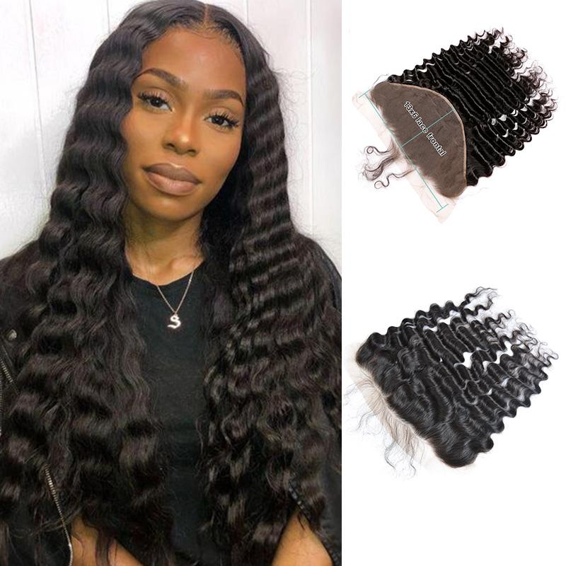 Queen Hair Inc 13x6 Lace Frontal Free Part Deep wave 100% Human Hair