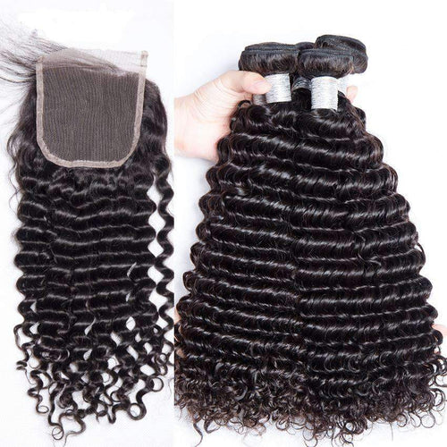 Queen Hair Inc 9A 3 Remy Hair bundles + 4X4 Lace Closure Deep Wave #1b