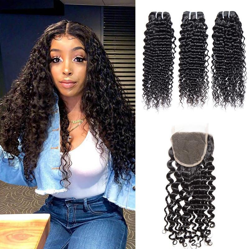 Queen Hair Inc Grade 8A+100% Unprocessed Human Hair 3 Bundles Hair+4x4 Lace Closure Deep Wave Queen Hair Inc