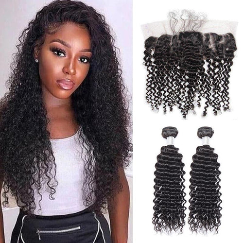 Queen Hair Inc Grade 9A 100% Unprocessed Human Hair Deep wave 2/3 Bundles Hair+13x4 Lace Frontal Queen Hair Inc