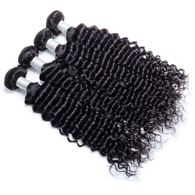 Queen Hair Inc Grade 9A  Hight quality Deep wave  3/4 bundles No Tange No Shedding