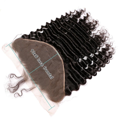 Queen Hair Inc Wholesale 13x6 Lace Frontal Free Part Deep Wave 100% Human Hair