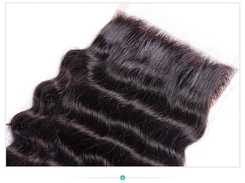 Queen Hair Inc Wholesale 4x4 Lace Closure Free Part Deep Wave 100% Human Hair