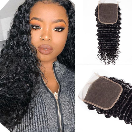 Queen Hair Inc Wholesale 5x5 Lace Closure Free Part Deep Wave 100% Human Hair