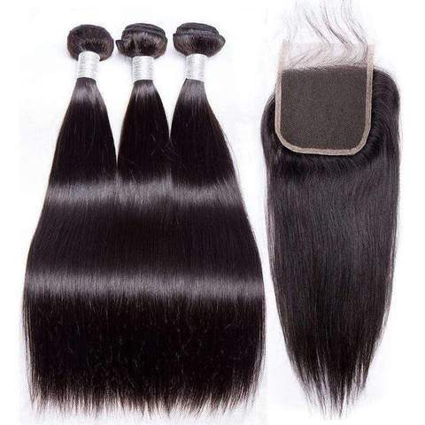 Queen Hair Inc Grade 9A Silky Staight WITH 4*4 Lace Closure 100% Virgin Hair Short Bob style size