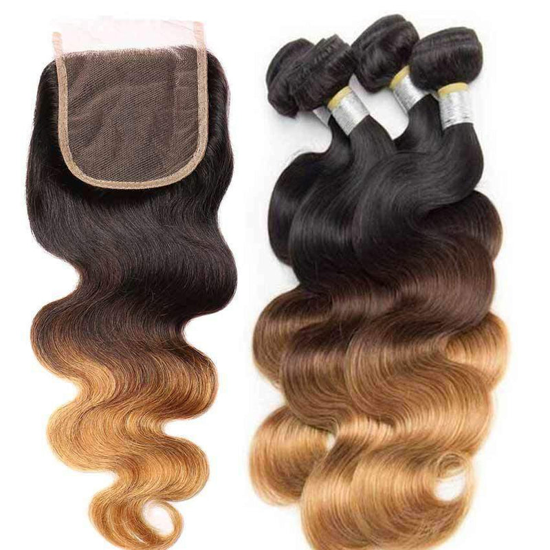 Queen Hair Inc Ombre 3bundles+4x4 Lace Closure #1B/4/27