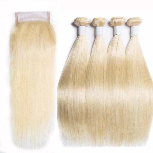 Queen Hair Inc 10a+ 3/4Bundles + 4x4 Closure Straight #613