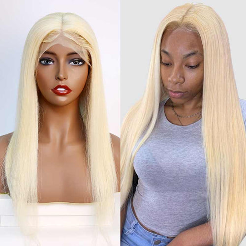 Queen Hair Inc New Arrival 10A Straight #613 13*6 lace frontal wig 150% Density Pre Plucked Blonde