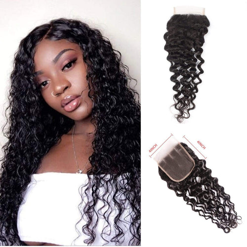 Queen Hair Inc Wholesale 4x4 Lace Closure Free Part Water Wave 100% Human Hair