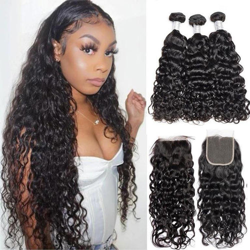 Queen Hair 9A 3 Remy Hair bundles + 4X4 Lace Closure Water Wave #1b