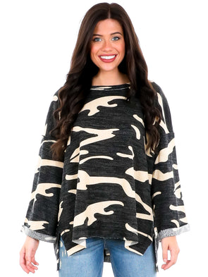 Young & Alive Camo Top