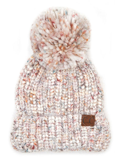 Ivory Multicolor Feather Yarn Knit Pom Beanie
