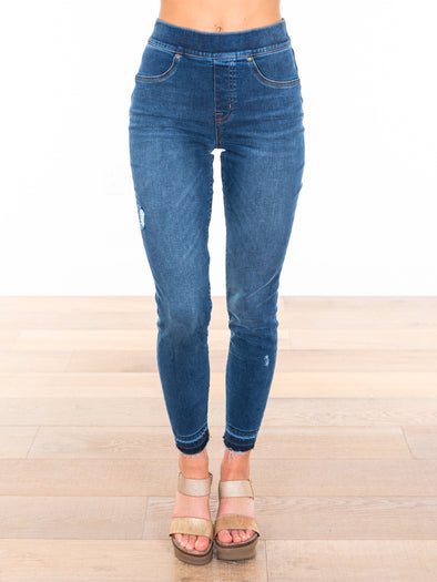 Spanx Distressed Skinny Medium Wash Jeans