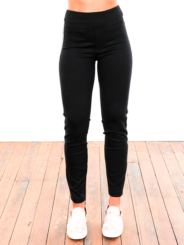 Spanx The Perfect Black Sequin Tuxedo Skinny Ankle Pant