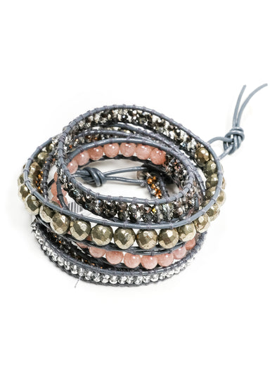 Petunia Leather Wrap Bracelet