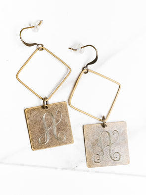 Gold Hammered Diamond Initial Earrings