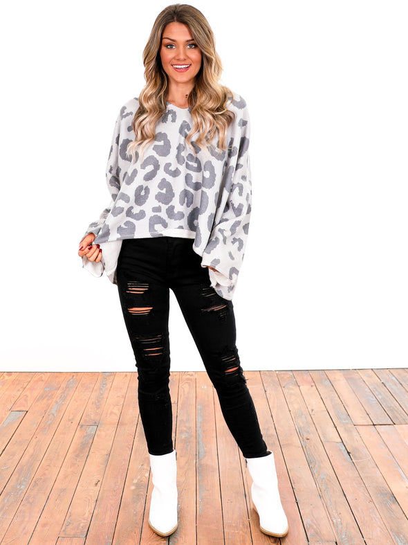 Be A Light Grey Leopard Sweater