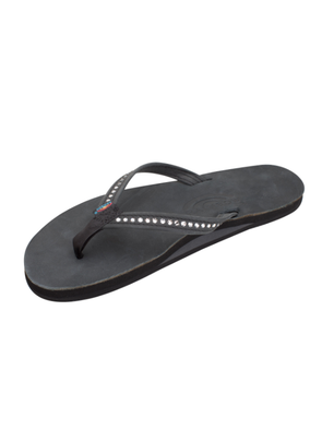 Crystal Collection Leather Sandal - Black