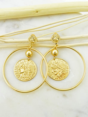 Coin Accented Hoop Earrings