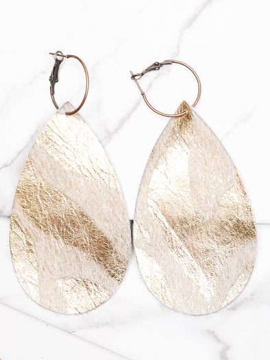 Gold Brushed Zebra Leather Earrings
