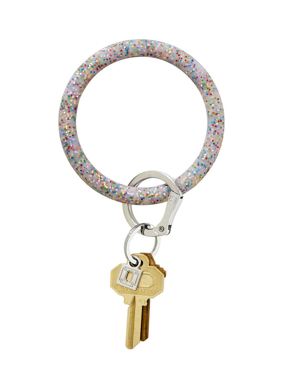 rainbOw cOnfetti silicOne Big O Key Ring