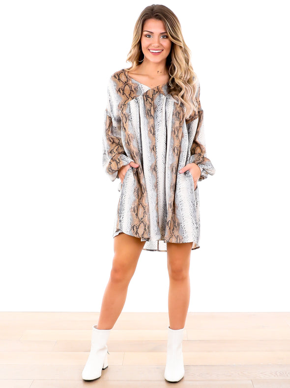 I Wanna Go Grey Snake Print Tunic