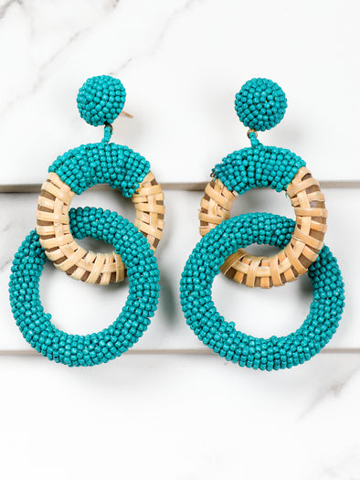 Falling For You Teal Link Earring