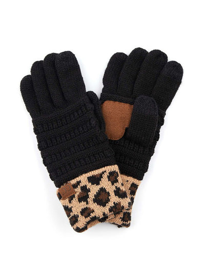 Black C.C. Solid Ribbed Glove With Leopard Cuff