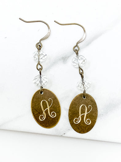 Crystal Drop Bronze Oval Initial Earrings