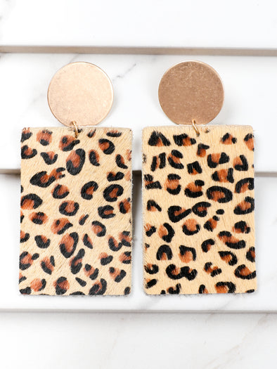Soft Leopard Rectangle Earrings